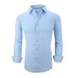 Mens Dress Shirts Cotton Spandex Casual Regular Fit Long Sleeve Shirt L19-Blue
