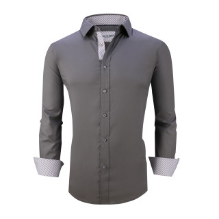 Mens Dress Shirts Cotton Spandex Casual Regular Fit Long Sleeve Shirt L19-Charcoal