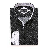 Mens Printed Casual Long Sleeve Dress Shirt print-01-K1218