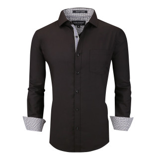 Alex Vando Mens Dress Shirts Wrinkle Free Regular Fit Long Sleeve Men Shirt Black