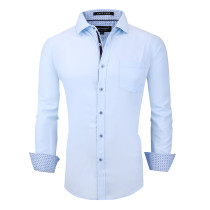 Alex Vando Mens Dress Shirts Wrinkle Free Regular Fit Long Sleeve Men Shirt Blue
