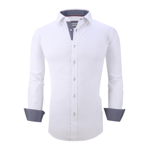 Mens Dress Shirts Cotton Spandex Casual Regular Fit Long Sleeve Shirt L19-White