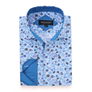 Mens Printed Casual Long Sleeve Dress Shirt print-01-K1580