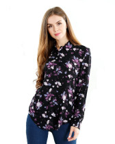 Womens Button Down Shirts Long Sleeve Print Work Shirt