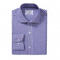 Mens Dress Shirts Cotton Regular Fit Long Sleeve Spread Collar Shirt  Blue/Navy