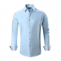 Alex Vando Mens Dress Shirts Cotton Casual Regular Fit Long Sleeve Collar Shirt Blue