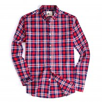 Mens Button Down Cotton Plaid Washed Regular fit Long Sleeve Shirt Red/Navy