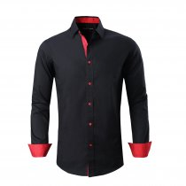Alex Vando Mens Dress Shirts Cotton Casual Regular Fit Long Sleeve Collar Shirt Black