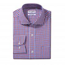 Mens Dress Shirts Cotton Regular Fit Long Sleeve Spread Collar Shirt Blue/Red