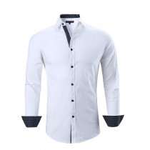 Mens Dress Shirts Cotton Spandex Casual Regular Fit Long Sleeve Shirt White