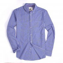 Mens Button Down Cotton Plaid Washed Regular fit Long Sleeve Shirt Blue/White