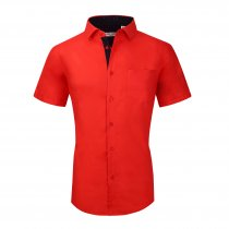 Mens Dress Shirts Cotton Spandex Regullar Fit Short Sleeve Shirt Cora