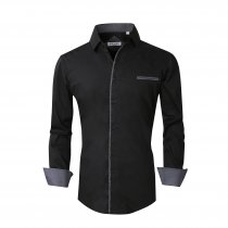 Mens Dress Shirts Cotton Spandex Regular Fit Fashion Long Sleeve Shirt Black