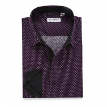 Mens Dress Shirts Polka Dots Printed Regular Fit Shirt Purple