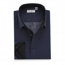 Mens Dress Shirts Polka Dots Printed Regular Fit Long Sleeve Shirt Navy