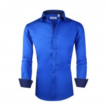 Mens Dress Shirts Cotton Spandex Casual Regular Fit Long Sleeve Shirt Royal Blue