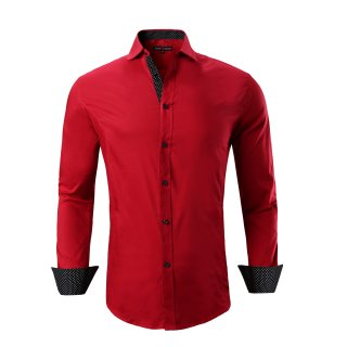 Mens Dress Shirts Cotton Spandex Casual Regular Fit Long Sleeve Shirt Red