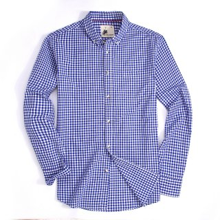 Mens Button Down Regular fit Washed Cotton Plaid Shirt Blue/White