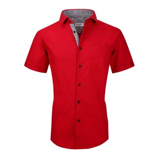 Alex Vando Mens Dress Shirts Cotton Casual Regular Fit Short Sleeve Red
