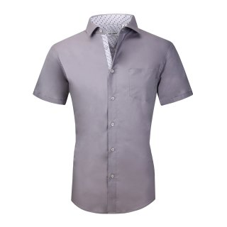 Mens Dress Shirts Cotton Spandex Regullar Fit Short Sleeve Shirt Gray