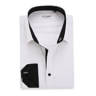 Mens Dress Shirts Polka Dots Printed Regular Fit Long Sleeve Shirt White