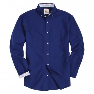 Mens Button Down Oxford Washed Regular fit Long Sleeve Shirt Navy