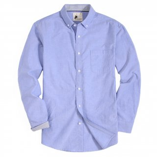 Mens Button Down Oxford Washed Regular fit Long Sleeve Shirt Blue