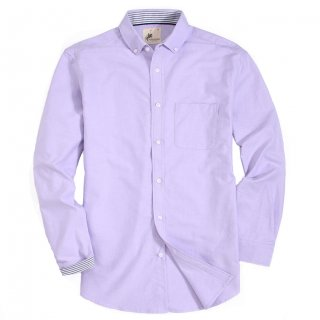 Mens Button Down Oxford Washed Regular fit Long Sleeve Shirt Purple