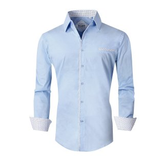 Mens Dress Shirts Cotton Spandex Regular Fit Fashion Long Sleeve Shirt Blue