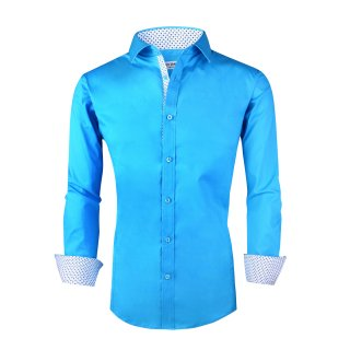 Mens Dress Shirts Cotton Spandex Casual Regular Fit Long Sleeve Shirt Turquoise