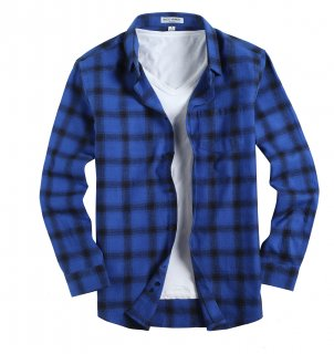 Mens Casual Button Down Regular Fit Long Sleeve Flannel Shirts Blue321