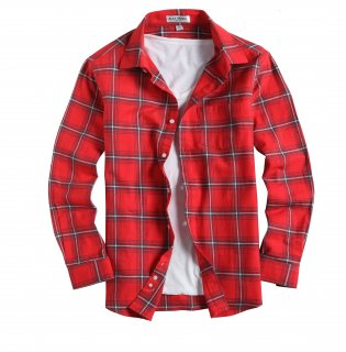 Mens Casual Button Down Regular Fit Flannel Shirts Red255