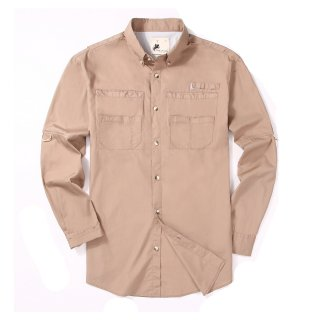 Alex Vando Mens Long Sleeve Cotton Fishing Shirt Khaki