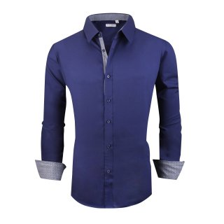Alex Vando Mens Big & Tall Dress Shirts Regular Fit Long Sleeve Men Shirt Navy