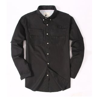 Alex Vando Mens Long Sleeve Cotton Fishing Shirt Black