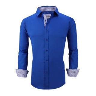 Mens Dress Shirts Cotton Spandex Casual Regular Fit Long Sleeve Shirt L19-Royal