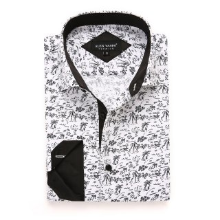 Mens Printed Casual Long Sleeve Dress Shirt print-01-A984