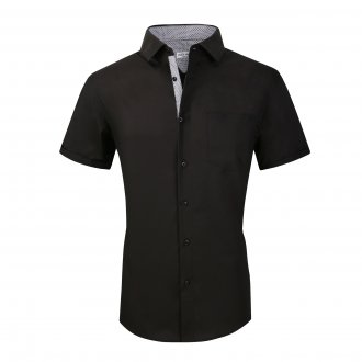 Mens Dress Shirts Cotton Spandex Regullar Fit Short Sleeve Shirt Black