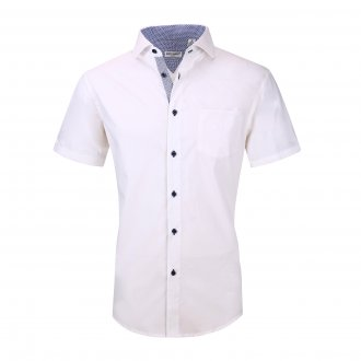 Mens Dress Shirts Cotton Spandex Regullar Fit Short Sleeve Shirt White
