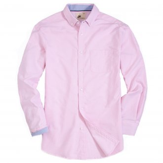 Mens Button Down Oxford Washed Regular fit Long Sleeve Shirt Pink
