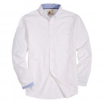 Mens Button Down Oxford Washed Regular fit Long Sleeve Shirt White