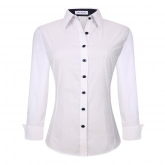 Womens Button Down Shirts Long Sleeve Cotton Stretch Work Shirt White