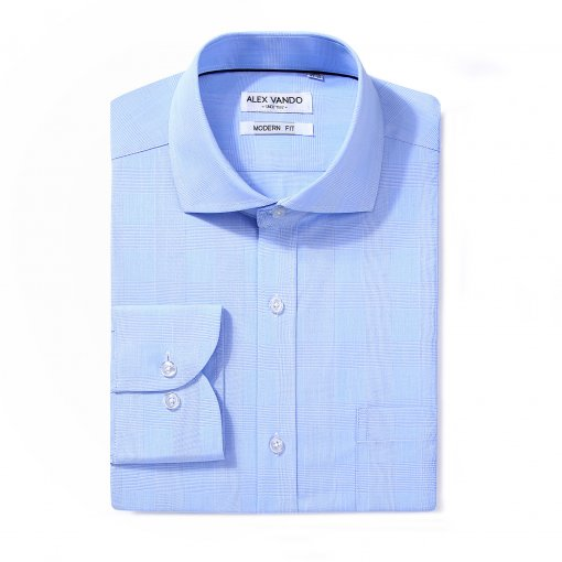Mens Dress Shirts Cotton Regular Fit Long Sleeve Spread Collar Shirt Blue Plaid