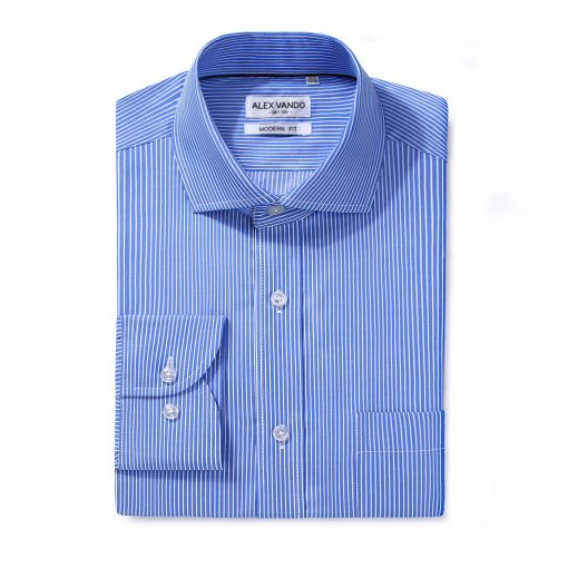 Mens Dress Shirts Cotton Regular Fit Long Sleeve Spread Collar Shirt Blue Stripe