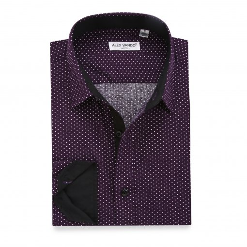 Mens Dress Shirts Polka Dots Printed Regular Fit Long Sleeve Shirt Purple