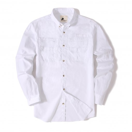 Alex Vando Mens Long Sleeve Cotton Fishing Shirt White