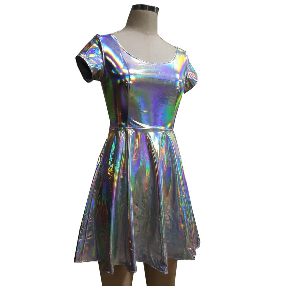 a5e8f6cfed7d US  36 - Summer Silver Holographic Skater Dress Women Music Festival Rave Dress  Clothes Outfits Vintage Boho Dresses Cute Dress - www.pindarave.com