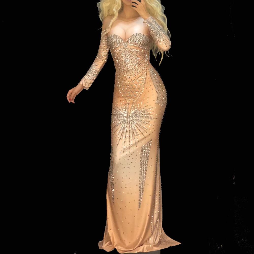 US$ 145 - Drag Queen Show Costumes Crystal Rhinestones Sexy Prom Nightclub Long Maxi Dress Celebrate Singer Birthday Dresses - www.pindarave.com