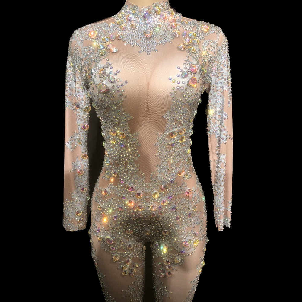 64ebaf26031 US  218 - Drag Queen Costumes Sexy Holographic Rhinestone Bodysuit Crystal  Jumpsuit Carnival Runway Performance Party Celebrity Clothing -  www.pindarave.com