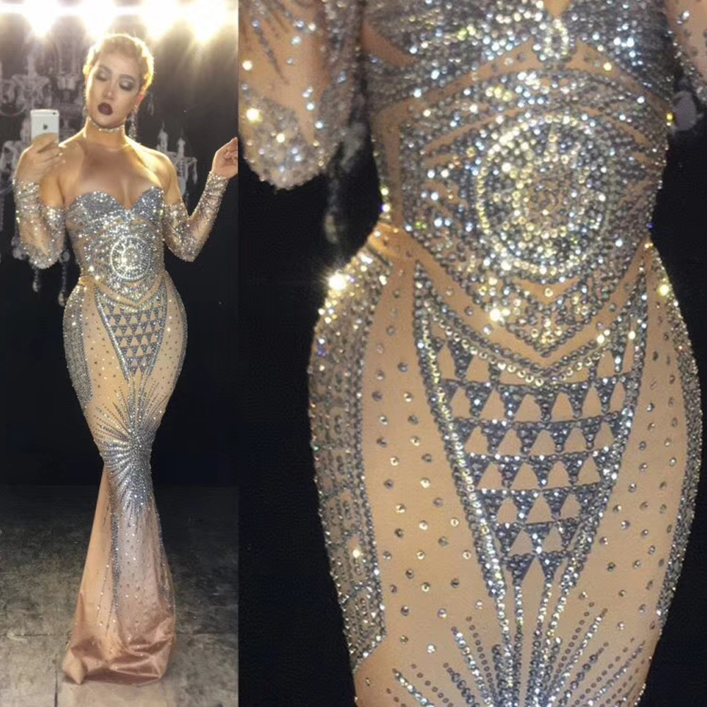 US$ 125 - Drag Queen Sparkly Rhinestone Long Dress Sexy Silver Glisten Crystals Costume Evening Birthday Celebrate Dress Wear Luxurious Outfit ...